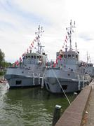 Navy tugs on show in Medemblik (Netherlands) - stock photo