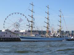 """Tallship """"MIR"""" from Russia on Sail 2015 in Amsterdam - stock photo"""