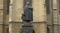 Bishop Georg Daniel Teutsch's statue in Sibiu Stock Footage