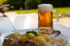 Pork Annex with beer. - stock photo