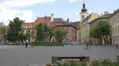 Afternoon in Albert Huet Square in Sibiu Stock Footage