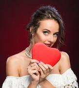 Beauty young girl with Valentine heart - stock photo