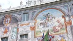 Facade of San Giorgio palace in Genoa, Italy Stock Footage