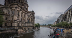 Berliner Dom and Spree River time lapse in Berlin Stock Footage
