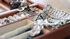 Fashion jewelry, women accessories Stock Footage