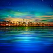 abstract background with panorama of vancouver and sunset - stock illustration