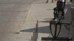 Old lampposts in Sibiu Stock Footage