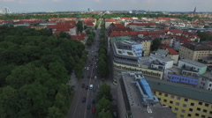 Aerial shot of Munich with streets and buildings Stock Footage