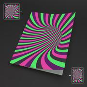 Stock Illustration of A4 Business Blank. Abstract Striped Background. Optical Art