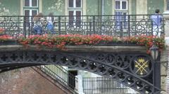 People on the Liars Bridge in Sibiu Stock Footage