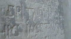 Old Stone Epitaph Inscription Stock Footage