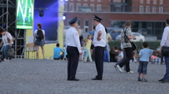 Police guard the order of the day of Independence in the city center Stock Footage