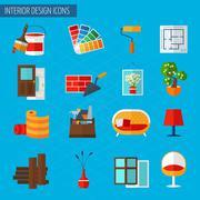 Interior Design Icons - stock illustration