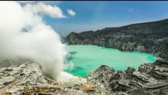 Time-lapse of Ijen Crater, Mount Ijen, Banyuwangi, East Java, Indonesia. Stock Footage