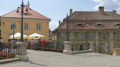Standing on the Liars Bridge in Sibiu Stock Footage