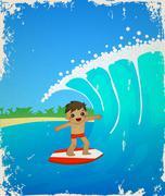 Сute cartoon surfer.  Vector illustration - stock illustration