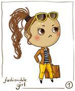 Fashionable girl isolated on white background Stock Illustration