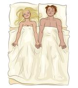 Loving couple lying in bed - stock illustration
