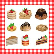Set of sweet appetizing cakes on a red plaid background - stock illustration