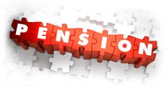 Pension - White Word on Red Puzzles - stock illustration