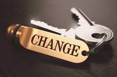 Change Concept. Keys with Golden Keyring Stock Illustration