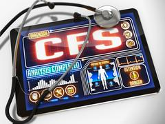 CFS on the Display of Medical Tablet - stock illustration