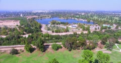 4K, Aerial  view and Panorama of  Lake Balboa, Los Angeles, California Stock Footage