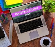 Partnership Concept on Modern Laptop Screen - stock illustration