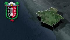 Araucania whit Coat of arms animation map Stock Footage