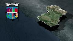 Libertador General Bernardo O Higgins whit Coat of arms animation map Stock Footage