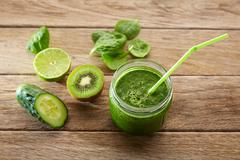 Detox green juice cleansing recipe Stock Photos
