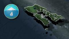 Los Lagos whit Coat of arms animation map Stock Footage