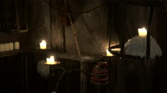 Burning candles in the dark dungeon. Stock Footage