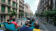 Bus trip through Barcelona, Spain - stock footage