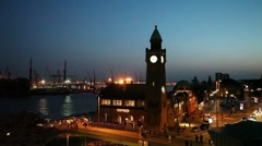 Landungsbruecken in Hamburg Stock Footage