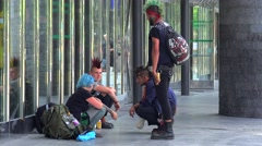 Informal youth (punks subculture) at the Prague street. - stock footage