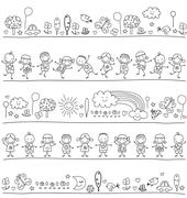pattern with children and cute nature elements - stock illustration