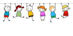 happy kids playing - stock illustration