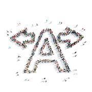 Stock Illustration of people  shape letter cartoon