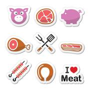 Pig, pork meat - ham and bacon labels icons set Stock Illustration