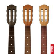 Set of Guitar neck fretboard and headstock - stock illustration