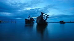 Cloudy Sunrise Over Sabah River Sunken Boat Shipwrecks Timelapse Stock Footage
