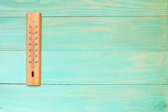 Thermometer  showing high temperature - stock photo