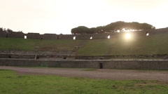 Sunset behind Pompeii's arena, Timelapse - Italy Stock Footage