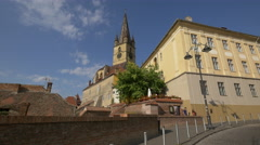 Street view of the Lutheran Cathedral of Sibiu Stock Footage
