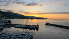 Aerial Monte Carlo sunrise investment wealth coastline - stock footage