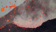 Volcano activity at dawn with beautiful colors Stock Footage
