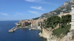 Monaco Aerial Drone building finance waterfront marina boat - stock footage