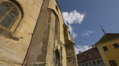 The gothic windows and doors of the Lutheran Cathedral of Saint Mary, Sibiu Stock Footage