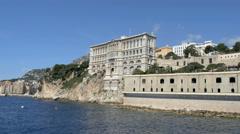 Monaco Aerial Drone Monte Carlo Oceanographic Museum Stock Footage
